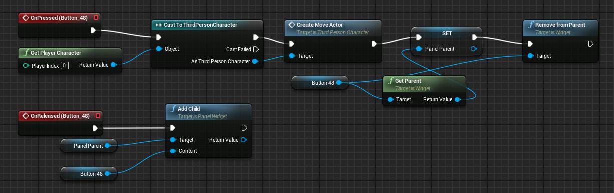 UE4 点击UI按钮生成物体并控制移动