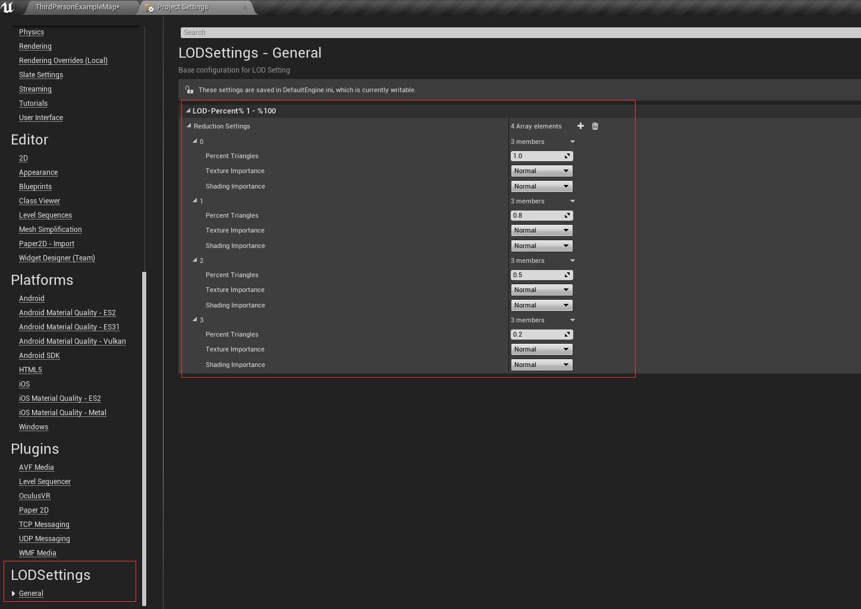 UE4 批量处理静态网格的LOD LEVEL插件发布